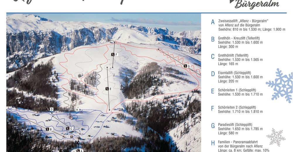 Piste map Ski resort Aflenzer Bürgeralm