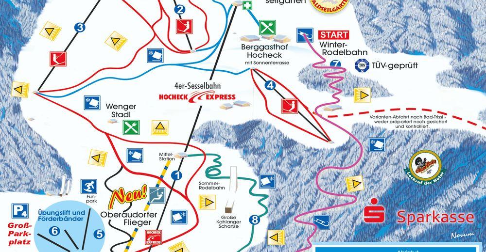 Pistenplan Skigebiet Oberaudorf Hocheck