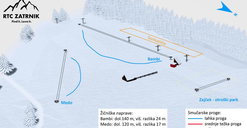 Plan skijaških staza Skijaško područje Zatrnik