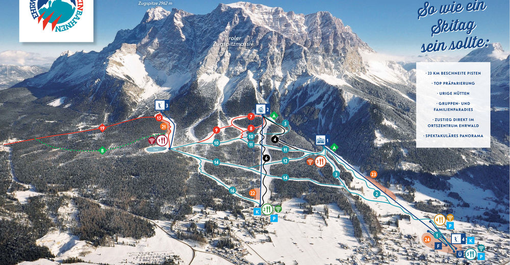 Pisteplan Skiområde Ehrwald Wettersteinbahnen