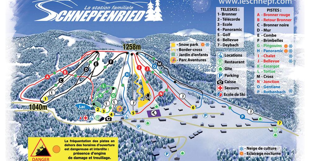 Planul pistelor Zonă de schi Schnepfenried