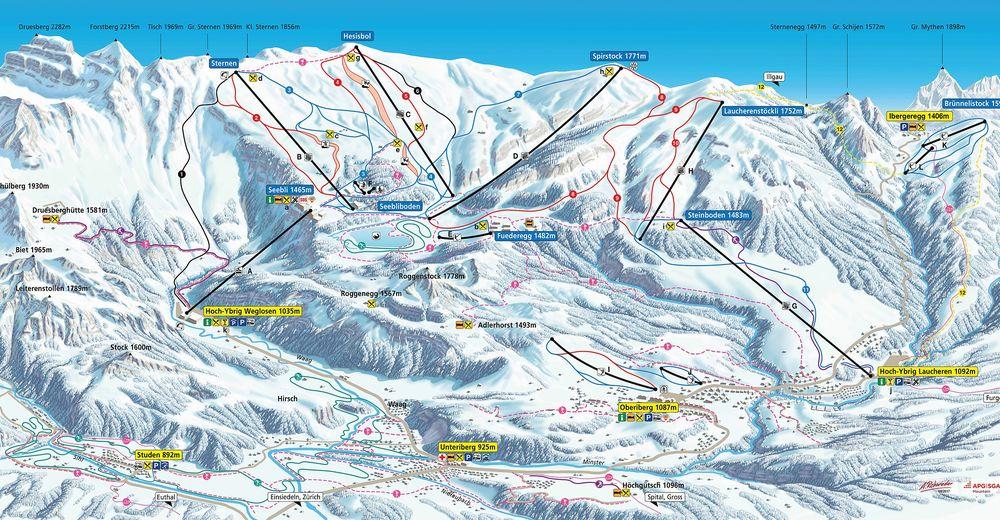 Planul pistelor Zonă de schi Oberiberg