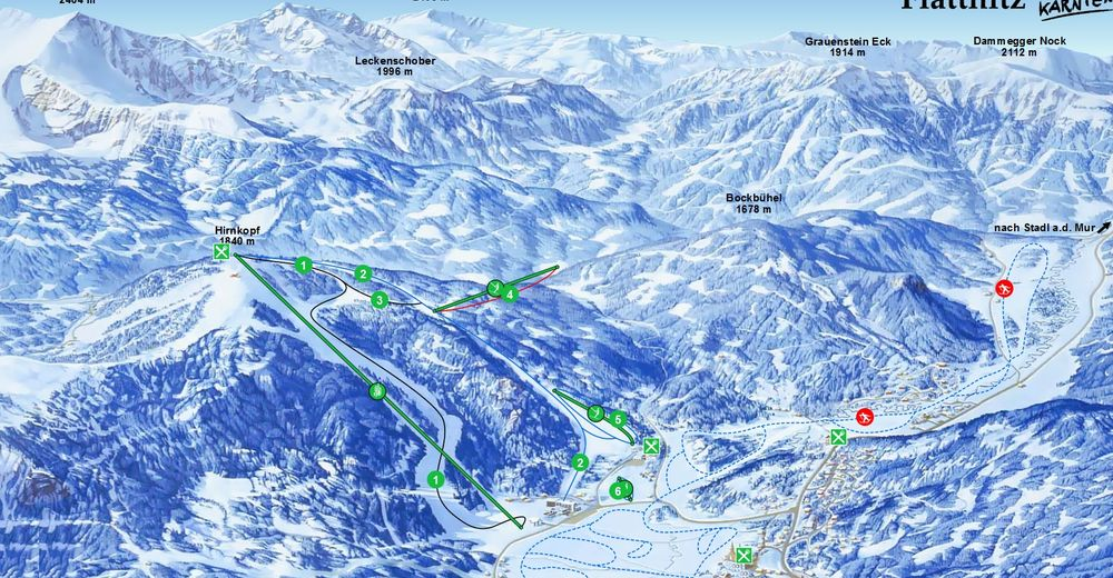 Plan skijaških staza Skijaško područje Flattnitz