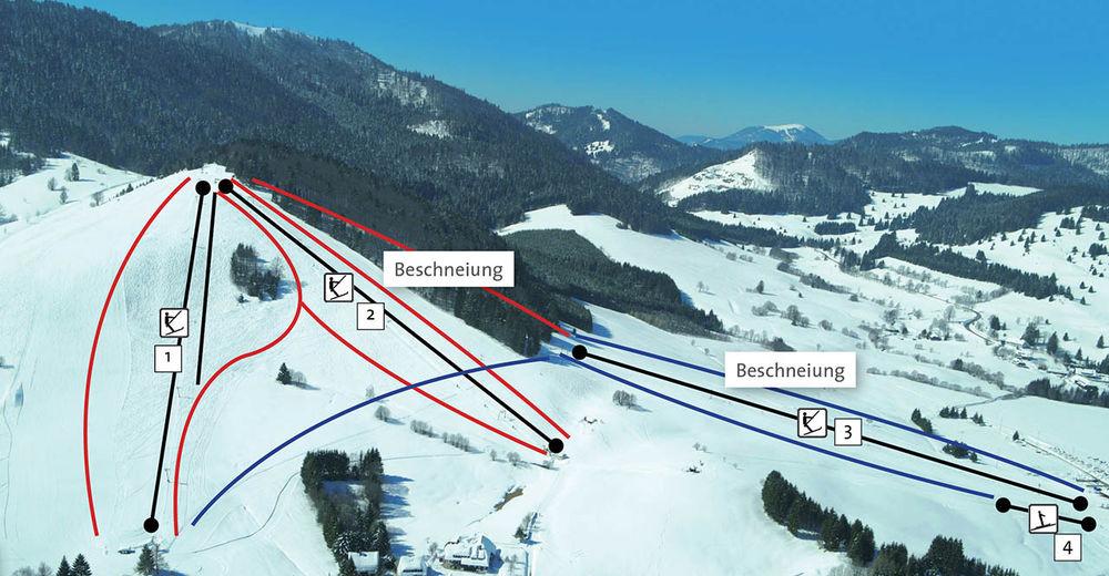 Pistenplan Skigebiet Bernau - Spitzenberg-Köpfle