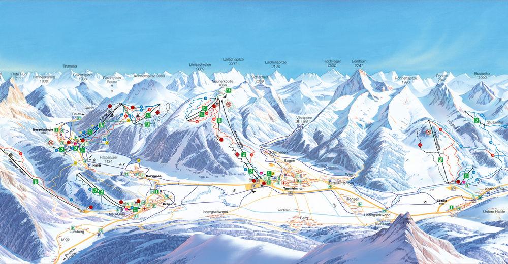 Piste map Ski resort Schattwald - Zöblen im Tannheimertal
