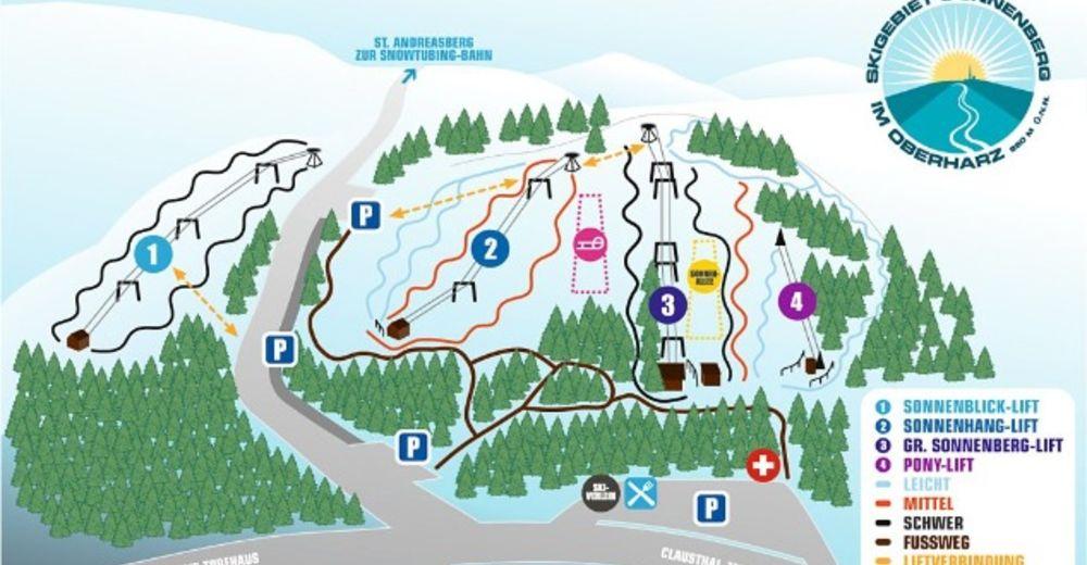 Pisteplan Skigebied St. Andreasberg - Sonnenberg