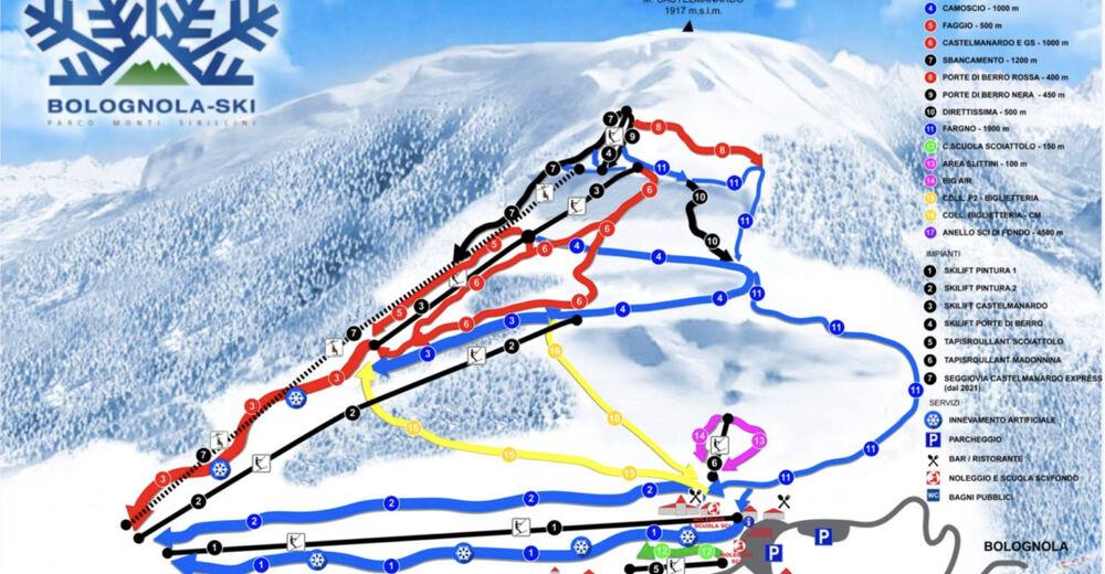 Plan skijaških staza Skijaško područje Pintura - Bolognola
