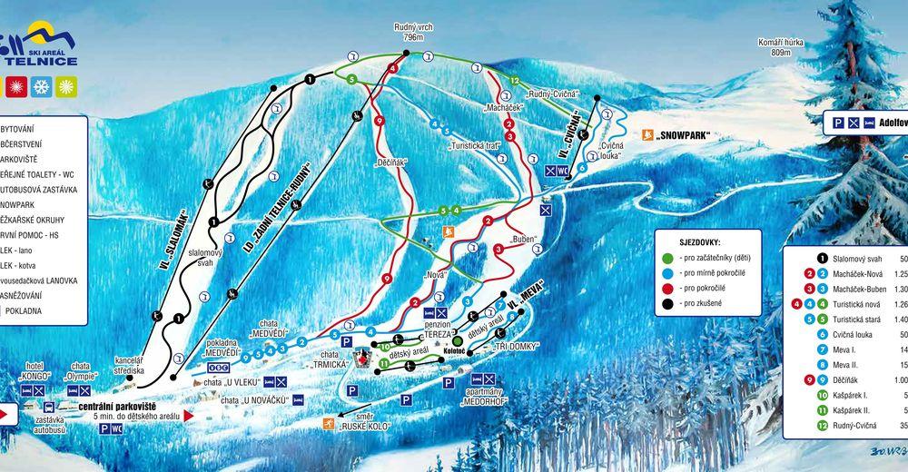 Mapa zjazdoviek Lyžiarske stredisko Telnice