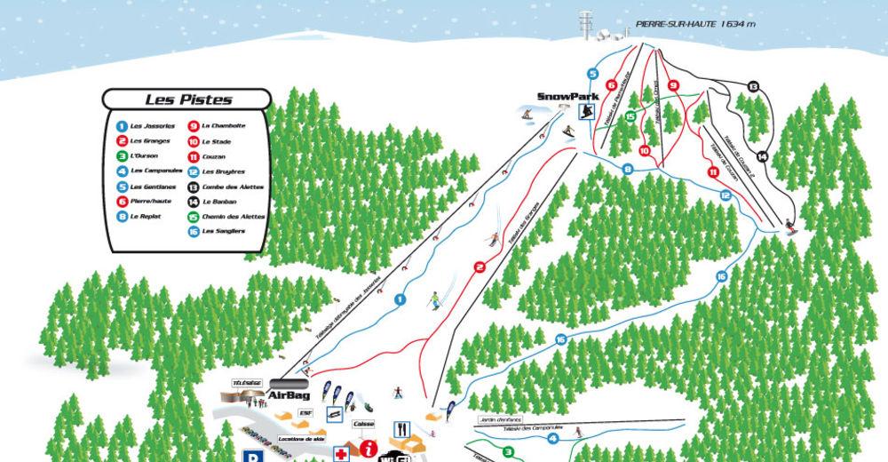 Pisteplan Skigebied Chalmazel