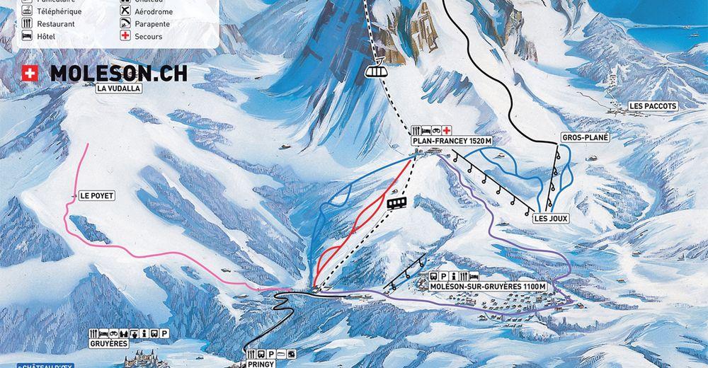 Pistenplan Skigebiet Moléson - La Gruyère