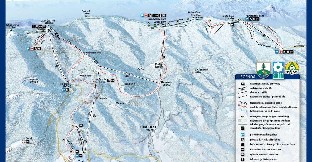 Piste map Ski resort Kope
