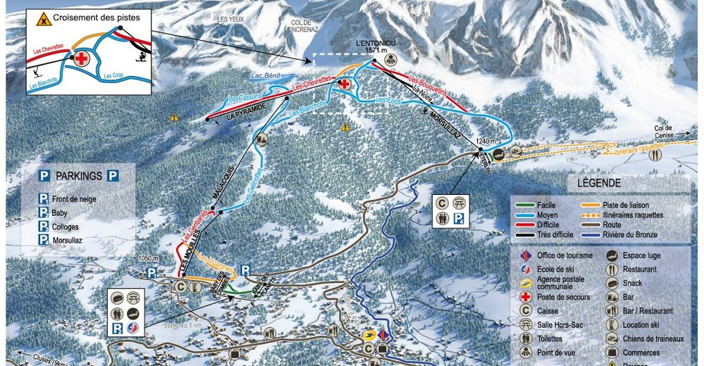 Piste map Ski resort Mont Saxonnex