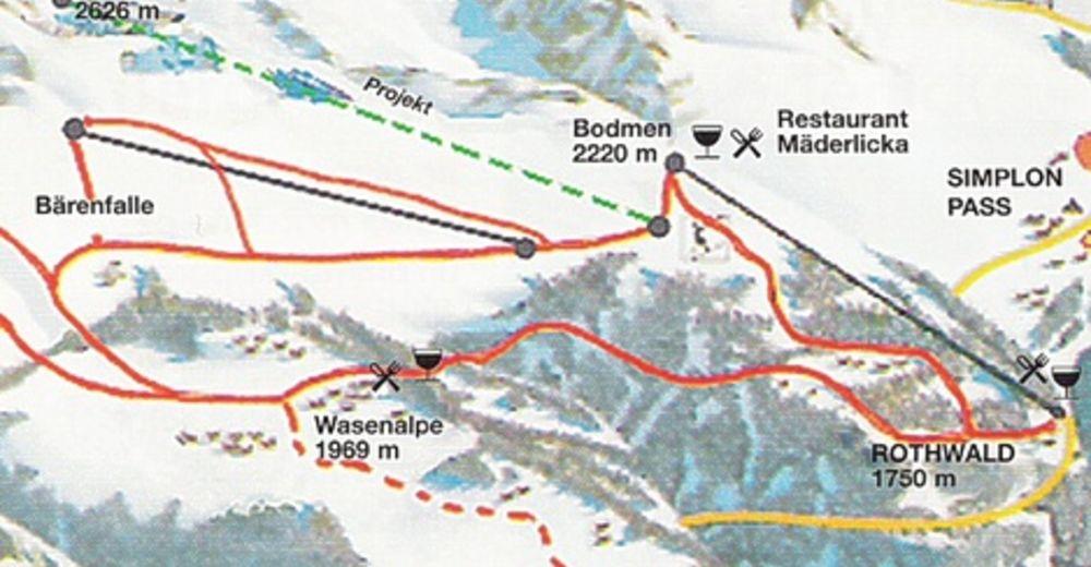Planul pistelor Zonă de schi Rothwald - Wasenalp am Simplon