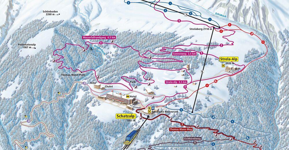 Pistplan Skidområde Davos Schatzalp - Strela