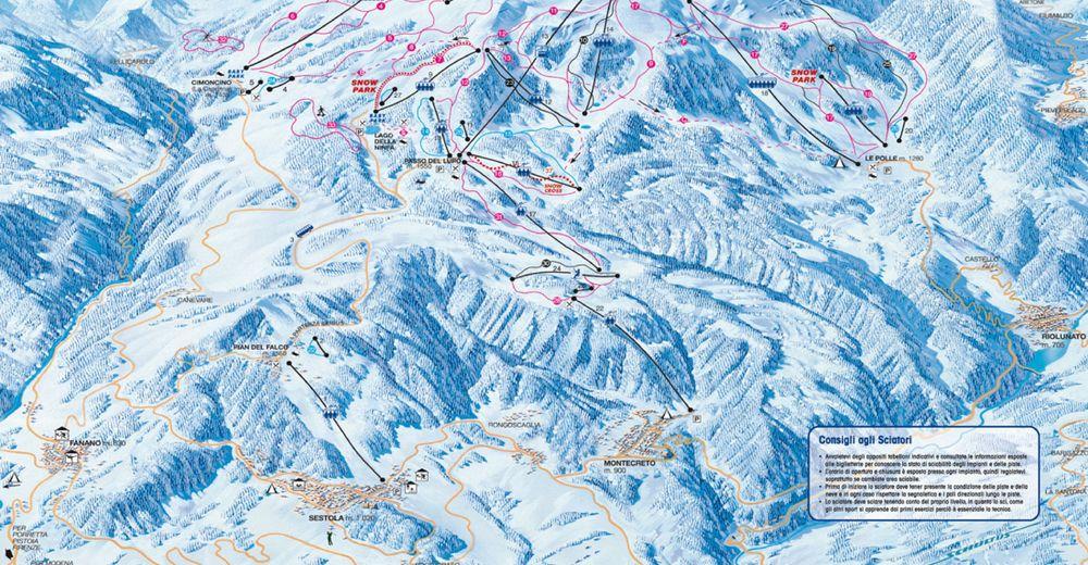 Pistenplan Skigebiet Monte Cimone / Sestola