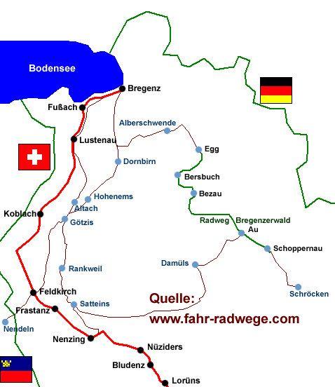 Radweg Walgau Rheintal Bodensee BERGFEX Radfahren Tour